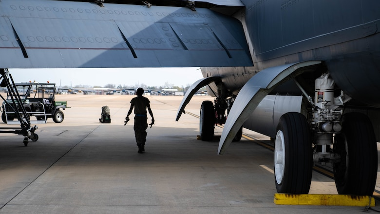 Airman 1st Class Jabari Coner, 2nd Aircraft Maintenance Squadron crew chief, performs a postflight inspection on a B-52H Stratofortress at Barksdale Air Force Base, La., March 19, 2020. Barksdale's crew chiefs are responsible for identifying any issues that the aircraft might have sustained during its mission. (U.S. Air Force photo by Airman 1st Class Jacob B. Wrightsman)