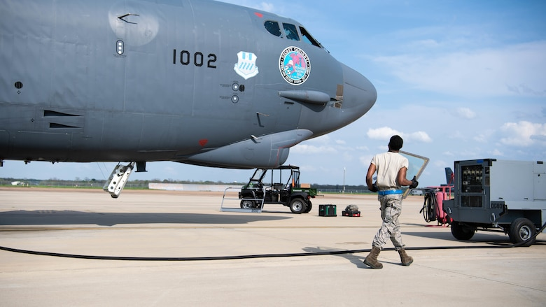 Airman 1st Class Jabari Coner, 2nd Aircraft Maintenance Squadron crew chief, performs a postflight inspection on a B-52H Stratofortress at Barksdale Air Force Base, La., March 19, 2020. It's the responsibility of Barksdale's crew chiefs to coordinate all necessary maintenance in order to keep the aircraft in war fighting form. (U.S. Air Force photo by Airman 1st Class Jacob B. Wrightsman)