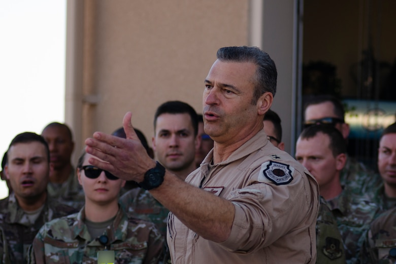 U.S. Air Force Lt. Gen. Joseph Guastella, U.S. Air Forces Central Command Commander, speaks with AFCENT Airmen outside of the combined air operations center at Al Udeid Air Base, Qatar, March 6, 2020.