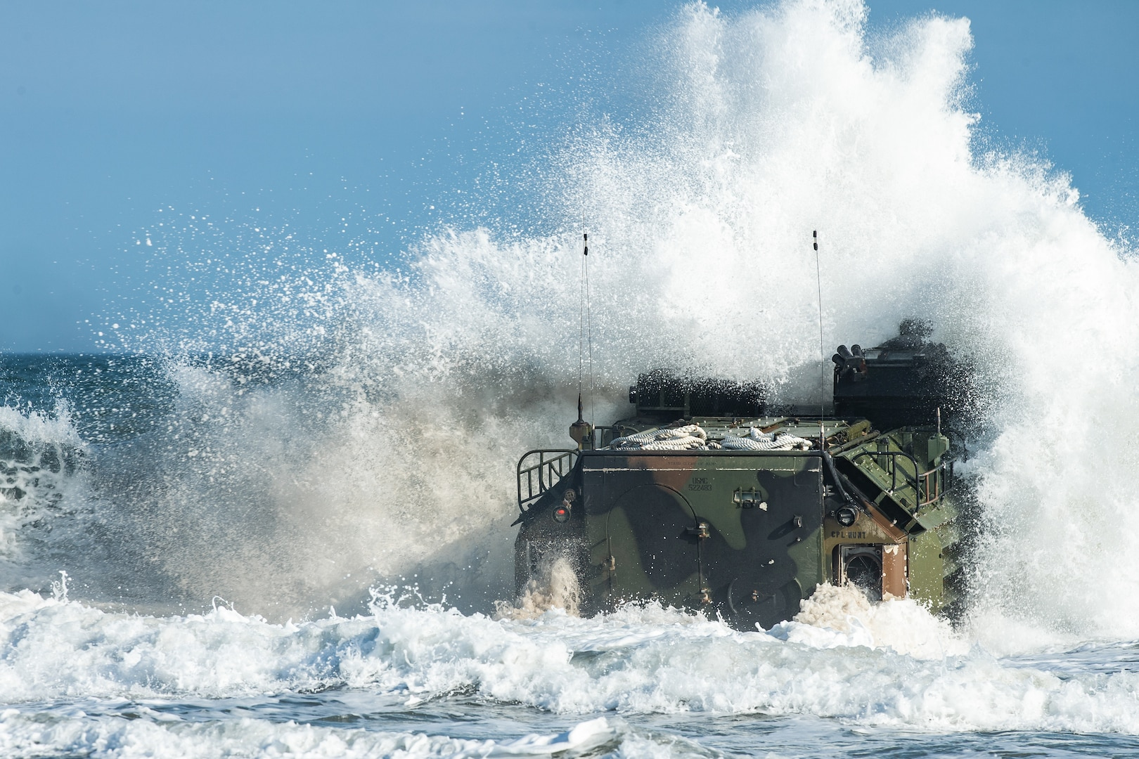 U.S. Marines with 3rd Platoon, Bravo Company, 2d Assault Amphibian Battalion conduct a ship-to-shore event at Camp Lejeune, N.C., March 19, 2020. The annual training requirement was used to maintain and improve the unit's readiness and proficiency while conducting amphibious operations. (U.S. Marine Corps photo by Lance Cpl. Patrick King)