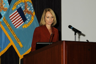 Deborah Greger, the first civilian to lead the Defense Logistics Information Service, addresses the workforce at a November 2012 gathering.