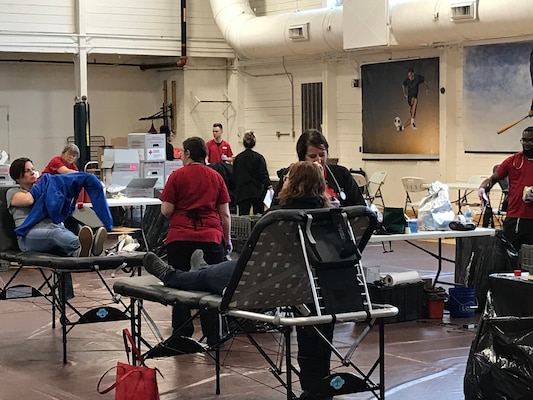 Naval Surface Warfare Center, Crane Division (NSWC Crane) employees respond to support the American Red Cross during a severe, statewide blood shortage March 18 and 19.