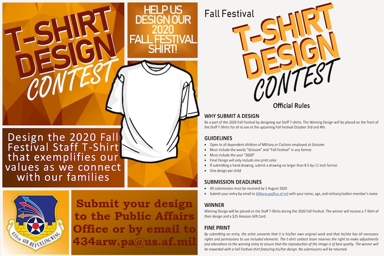 The wing is currently accepting designs for the 2020 Fall Festival staff t-shirts. The winning design will be placed on the front of the staff t-shirts for all to see at the upcoming Fall Festival October 3-4, 2020. (U.S. Air Force graphic/Master Sgt. Ben Mota)