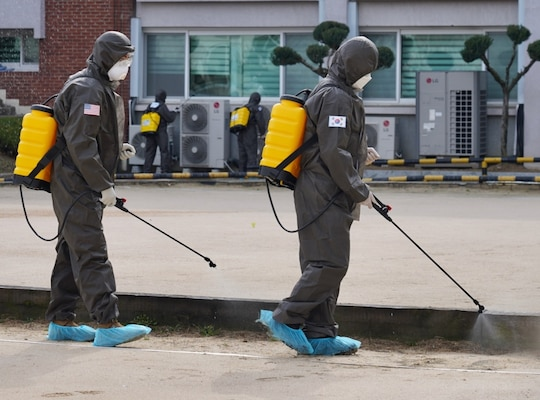 US Army Conducts Combined Disinfection with Republic of Korea Army
