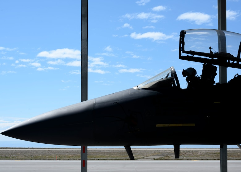 A fighter pilot from the 391st Fighter Squadron prepares to conduct flight training, March 16, 2020, at Mountain Home Air Force Base, Idaho. The Gunfighters are maintining their total force efforts in the midst of schedule changes due to COVID-19. (U.S. Air Force photo by Senior Airman Tyrell Hall)