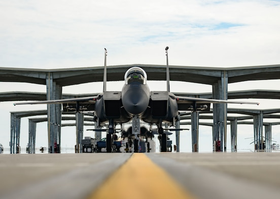 An F-15E Strike Eagle from the 391st Fighter Squadron, taxies from an overhang before flight, March 20, 2020, at Mountain Home Air Force Base, Idaho. The 391st FS is designated as an expeditionary squadron, deploying to support  the Air Force's air superiority. (U.S. Air Force photo by Senior Airman Tyrell Hall)