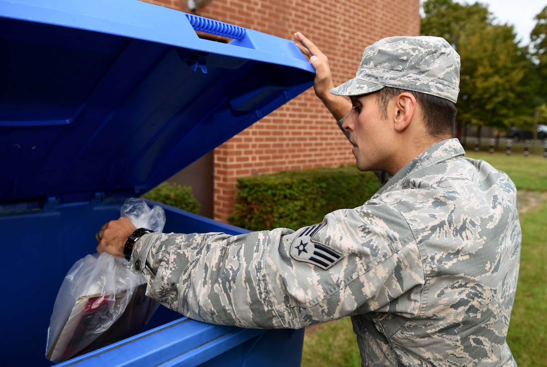 The Wright-Patterson Air Force Base Recycling center will continue outside collection containers as usual, but requests for pick-up will be evaluated with the goal of social distancing. (U.S. Air Force photo by Airman 1st Class Brandon Esau)