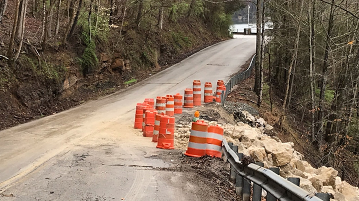 The U.S. Army Corps of Engineers Nashville District announces Dale Hollow Dam Road at the dam in Celina, Tenn., is closing today through April 9, 2020, to repair Walker Ridge Road.  The road is in need of stabilization due to a roadside slide related to excessive spring rains and soaked terrain. (USACE photo by Sondra Carmen)
