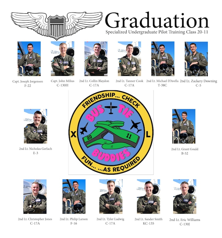 Specialized Undergraduate Pilot Training Class 20-10 and 20-11 are set to graduate after 52 weeks of training at Laughlin Air Force Base, Texas, March 27, 2020. Laughlin is the home of the 47th Flying Training Wing, whose mission is to build combat-ready Airmen, leaders and pilots. (U.S. Air Force graphic by Senior Airman Anne McCready)