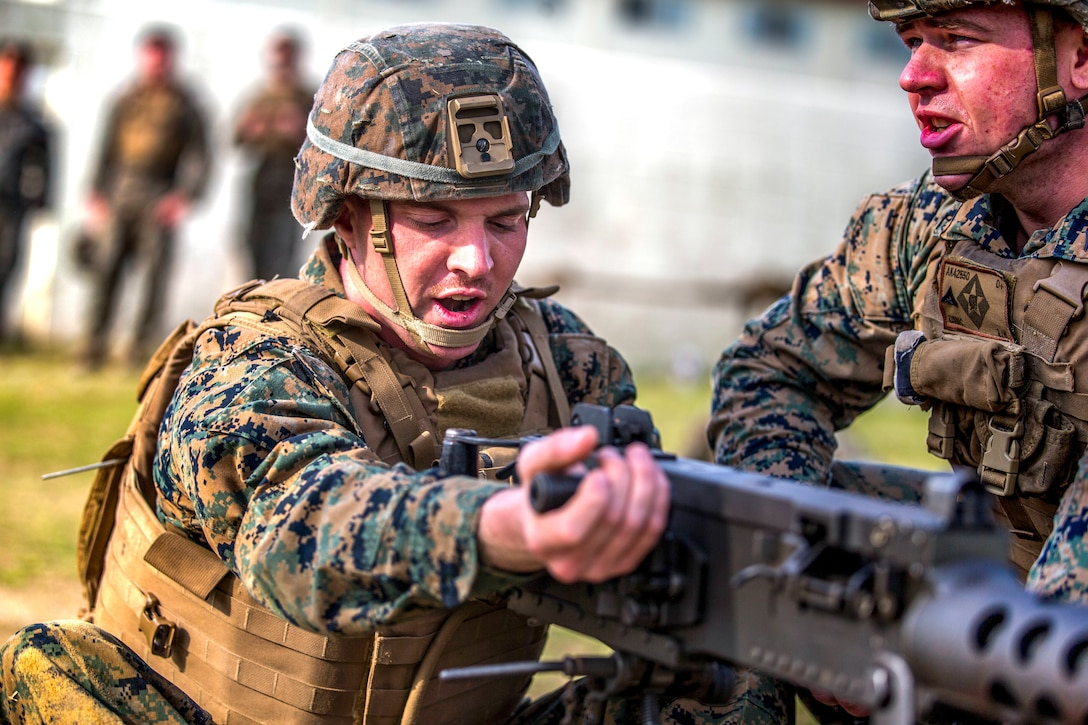 A U.S. Marine participates in a crew-served weapons competition at Camp Schwab, Okinawa, Japan, March 3.