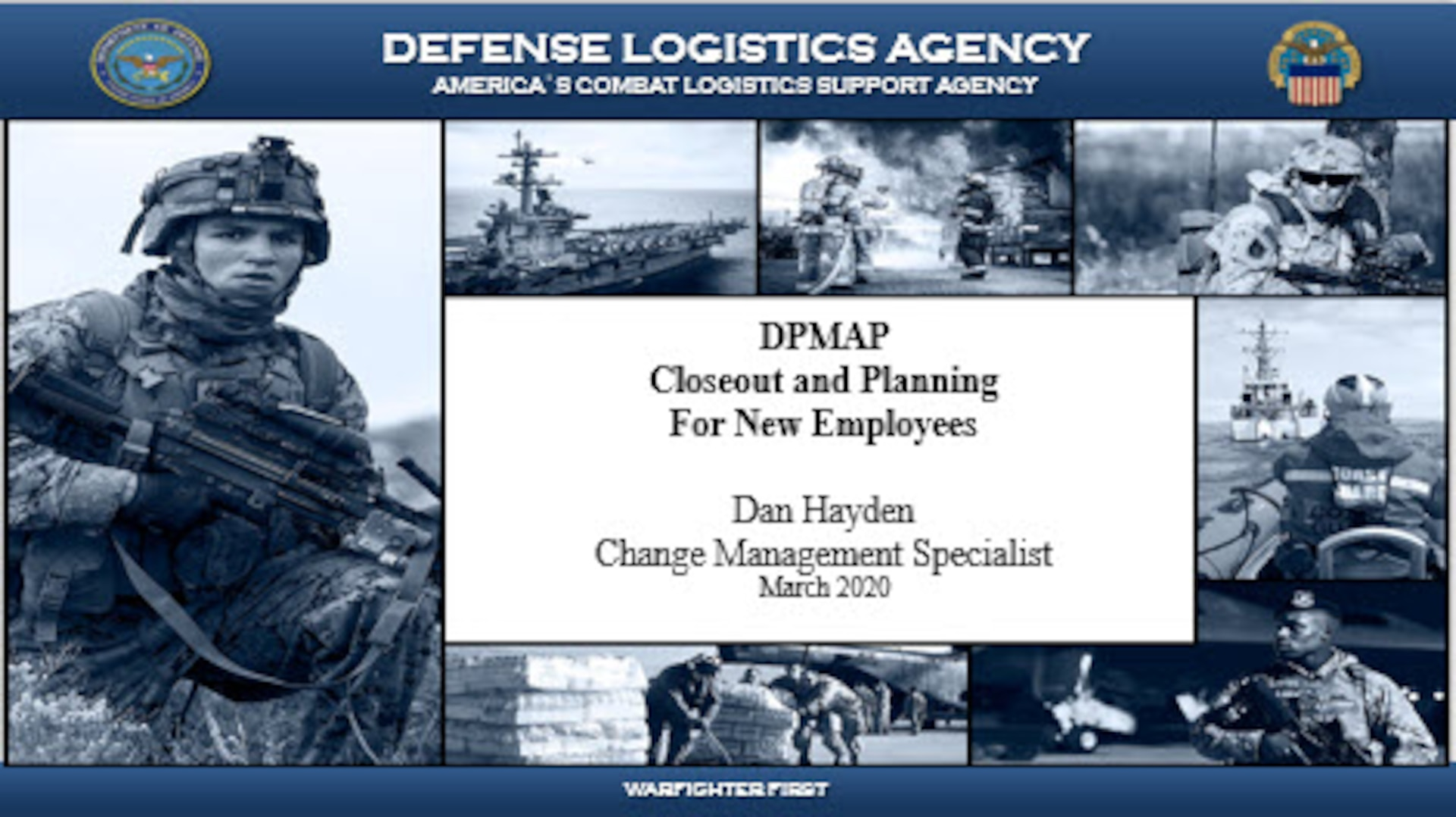 DPMAP Closeout and Planning For New Employees Cover Sheet for virtual presentation on March 18, 2020