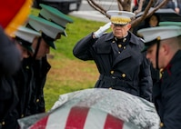 Commandant of the Marine Corps, Gen. David H. Berger salutes the casket of retired 28th Commandant of the Marine Corps Gen. Paul X. Kelley, during Gen. Kelley's funeral service at Fort Myer Memorial Chapel, February 13, 2020. General Kelley served as CMC from 1983 to 1987.