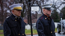Commandant of the U.S. Marine Corps Gen. David H. Berger and Sgt. Maj. of the Marine Corps Troy E. Black lead Marines with Marine Barracks Washington on a march to Arlington National Cemetery in Arlington, Va., for the funeral service for retired CMC Gen. Paul X. Kelley, Feb. 13, 2020. Kelley served as CMC from 1983 to 1987.