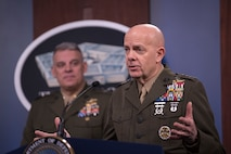 Commandant of the Marine Corps Gen. David H. Berger delivers remarks at a press briefing about the Marine Corps and COVID-19, at the Pentagon, Washington, D.C., March 26, 2020.