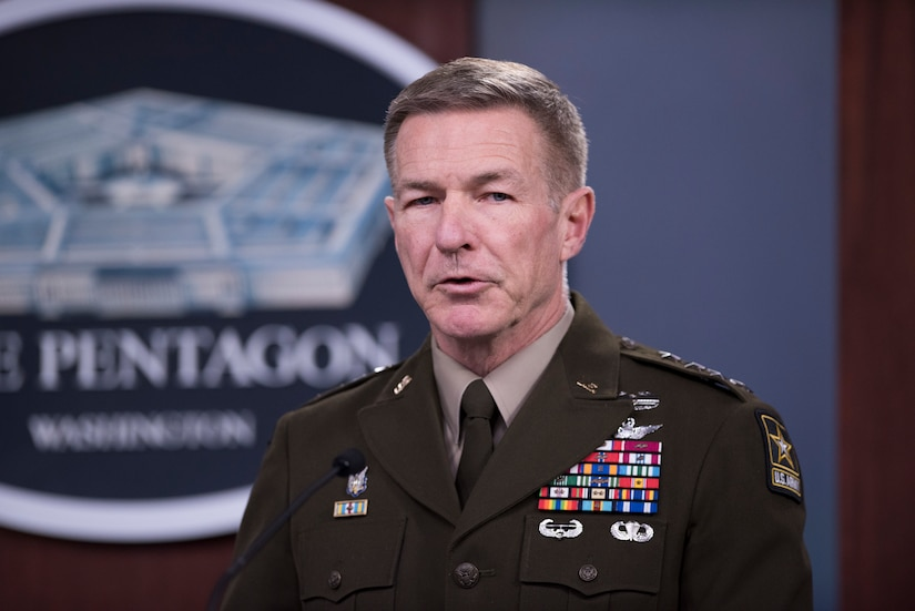 An Army general briefs reporters at the Pentagon.