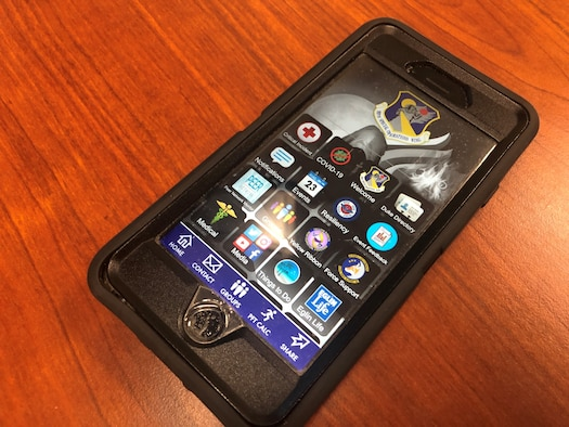 Phone displaying 919th Special Operations Wing App with new Coronavirus button