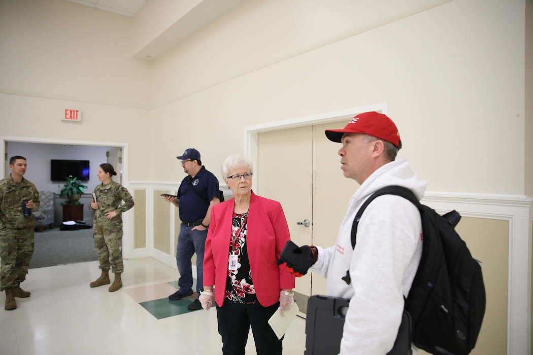 U.S. Army Corps of Engineers' Philadelphia District assessment teams conduct an inspection of a Delaware facility on Mar. 26, 2020. USACE is providing initial planning and engineering support to address possible medical facility shortages due to the COVID-19 Pandemic.