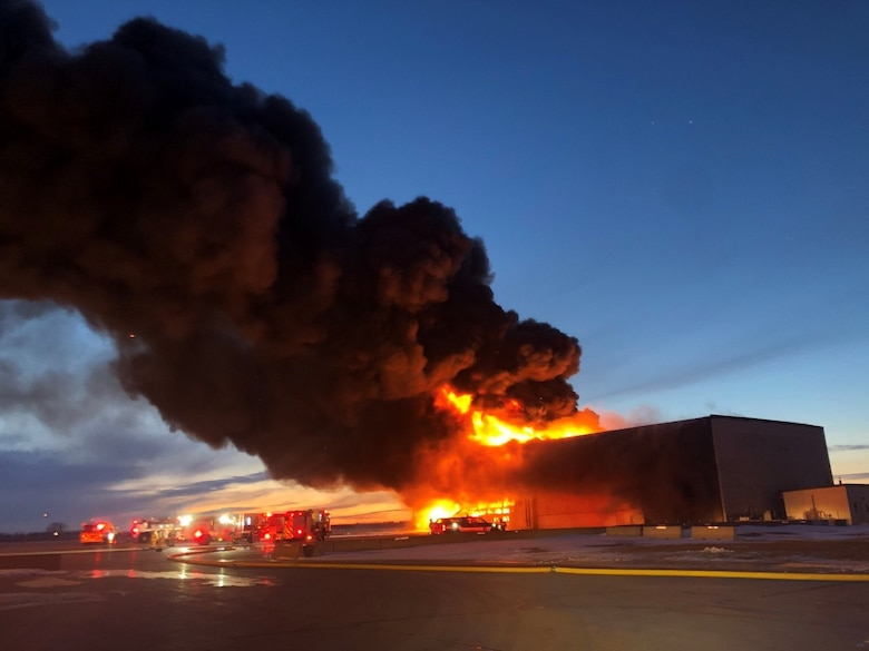 On Dec. 28, 2019, a fire gutted this Strategic Air Command-era hangar on Miniot Air Force Base, N.D. Office of Special Investigations Detachment 813 and 2nd Field Investigations Squadron teamed with the Bureau of Alcohol, Tobacco, Firearms and Explosives to conduct the subsequent investigation to determine the origin and cause of the blaze resulting in a $7M loss to the Air Force. (Photo by 91 SFS)