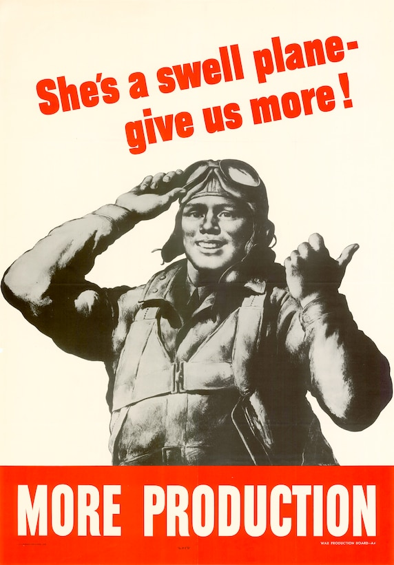 A World War II-era poster features a servicemember and urges Americans to aid the war effort.