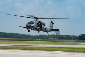 Photo of an HH-60G Pave Hawk hovering.