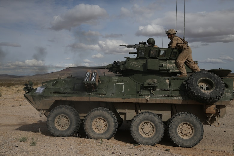 U.S. Marines with 2nd Light Armored Reconnaissance Battalion, 2nd Marine Division fire the M242 Bushmaster during a live-fire range on the National Training Center 20-05 in Ft. Irwin, Calif., March 20, 2020. The National Training Center is a unique opportunity that allows Marines and Sailors to train with and against a peer competitor in a conventional combat operational setting. (U.S. Marine Corps photo by Cpl. Elijah J. Abernathy)