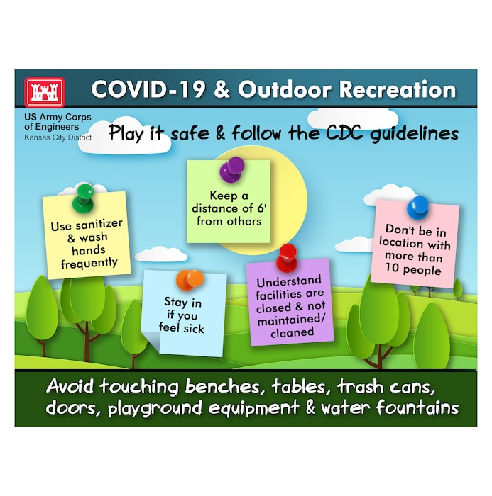 Follow CDC guidelines, even when outdoors. We are not staffed to maintain/clean lake & park areas.  Be cautious about touching anything. Sanitize and wash often. Practice social distancing.