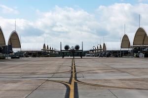 Photo of A-10C Thunderbolt II taxing along the flightline.