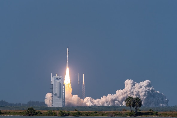 An Atlas V Advanced Extremely High Frequency vehicle number 6 rocket successfully launches from Space Launch Complex-41 at Cape Canaveral Air Force Station, Fla., March 26, 2020. The AEHF-6 launch, a sophisticated communications relay satellite, is the first Department of Defense payload launched for the United States Space Force. (U.S. Air Force photo by Joshua Conti)