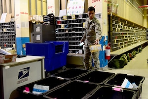 U.S. Air Force Airman 1st Class Daniel Young, 31st Force Support Squadron postal clerk, sorts packages for delivery at the Aviano Post Office, Aviano Air Base, Italy, March 25, 2020. The Aviano post office operates as an extension of the United States Postal Service, providing postal services to service members, dependents, and Department of Defense civilians overseas during both normal and contingency operations. (U.S. Air Force photo by Staff Sgt. Kelsey Tucker)