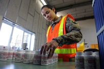 U.S. Army Reserve Spc. Tiffany Boatner, a human resources specialist with Medical Support Unit-Europe, 7th Mission Support Command, sorts bottles of acetaminophen at the U.S. Army Medical Materiel Center, Europe warehouse in Pirmasens, Germany, March 26, 2020. 7th MSC Soldiers are supporting the shipping and receiving functions in the warehouse to help with the high demand of Army Class VIII medical supplies during the COVID-19 pandemic.