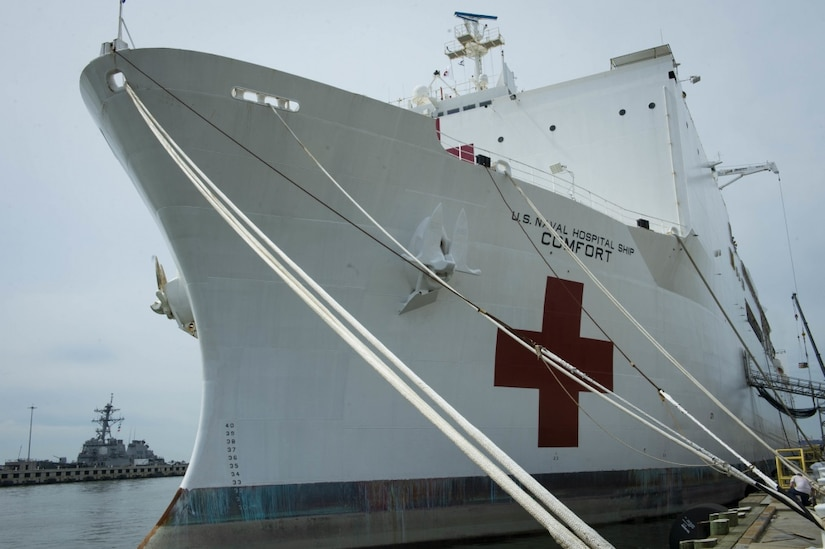 "The bow of a large white ship with a red cross and lettering that says, ""U.S. Naval Hospital Ship Comfort."""