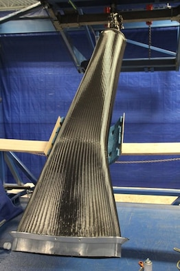 An 11-foot long unmanned aircraft system inlet duct preform is shown prior to resin infusion. (Courtesy photo)