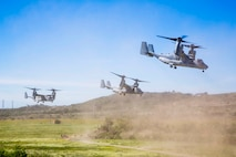 Three MV-22B Ospreys assigned to Marine Tiltrotor Squadron (VMM) 362, Marine Aircraft Group (MAG) 16, 3rd Marine Aircraft Wing (MAW), depart a simulated weapons engagement zone during an air assault in support of 1st Battalion, 3rd Marine Regiment, at Camp Pendleton, Calif., Feb. 26, 2020. Air assaults enable commanders to avoid enemy surfaces, exploit gaps, and maintain the flexibility and mobility needed to strike objectives in otherwise inaccessible areas during a Marine Air Ground Task Force mission. This culminating event signified that VMM-362 has reached full operational capability since its reactivation in 2018, ultimately increasing the lethality of 3rd MAW. (U.S Marine Corps photo by Lance Cpl. Julian Elliott-Drouin)