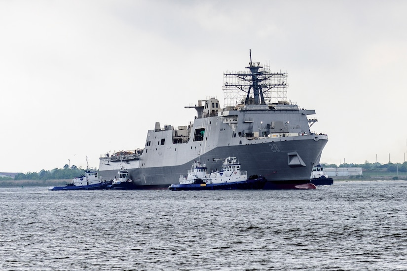 The future USS Fort Lauderdale (LPD 28) was successfully launched at the Huntington Ingalls Industries (HII) Ingalls Division shipyard in Pascagoula, Miss. on March 28.
