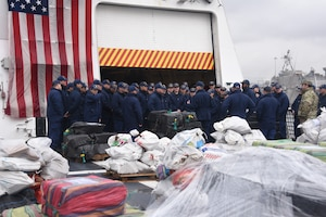 NSC crew prepares about 20,000 pounds of cocaine for offload in San Diego, California
