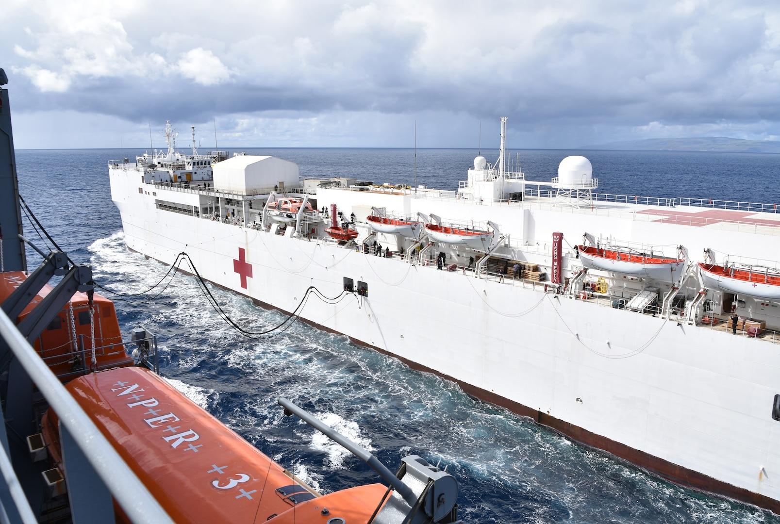 USNS Mercy fuels at sea
