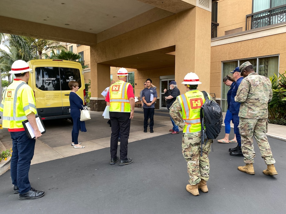 Working in partnership with DHHS, the State of Hawaii, and Maui County a U.S. Army Corps of Engineers Honolulu District site assessment team today conducted three Alternate Care Facility (ACF) site surveys on Maui.