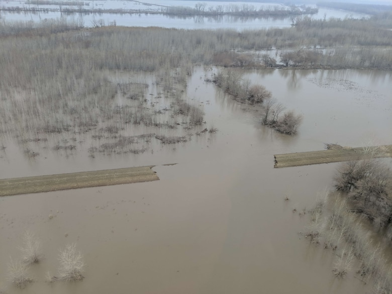 A portion of the Union Township Station Levee in Holt County, Mo. showing a breach and large amounts of water behind the levee on the Missouri River, March 28, 2019. Contributed photo.