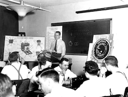 In 1949, shortly after the creation of OSI, agents learn about photography. (U.S. Air Force photo).