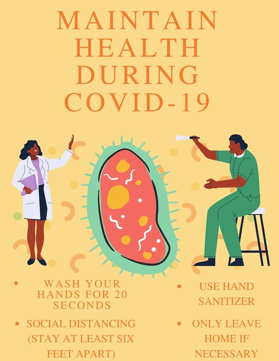 The COVID-19 pandemic continues to change workflow at Schriever Air Force Base, but Airmen adapt to fulfill their mission. Airmen keep their areas sanitized and clean often to assure safety of those who visit the base. (Air Force graphic by Marcus Hill)
