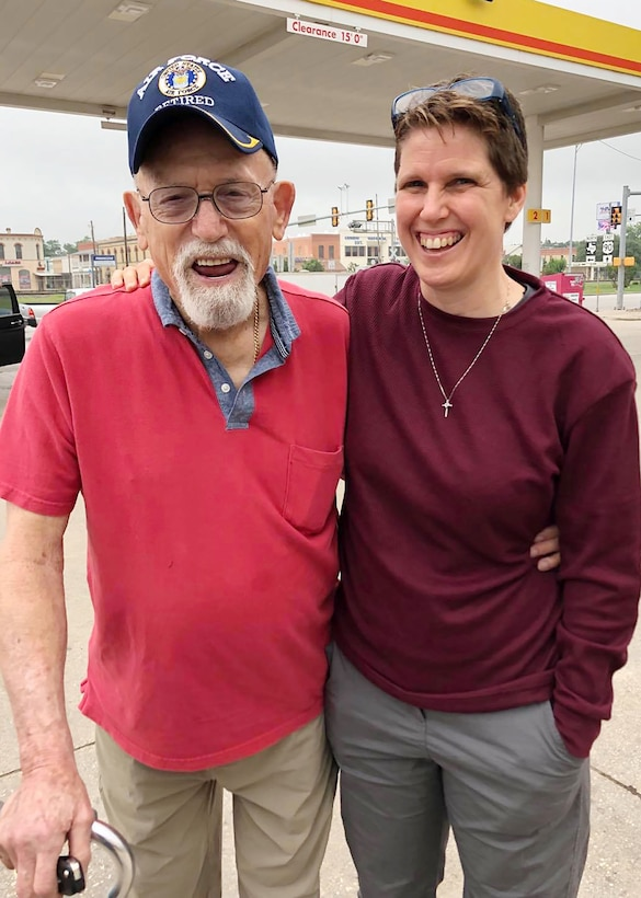 Colonel Michelle Estes, 352nd Special Operations Maintenance Group commander, poses for a photo with retired Senior Master Sgt. Edward Sanders in Texas, May 2019. Sanders was her Air Force Junior Reserve Officers' Training Corps instructor when she was in high school, and Estes said he is one of her greatest mentors. (Courtesy photo)