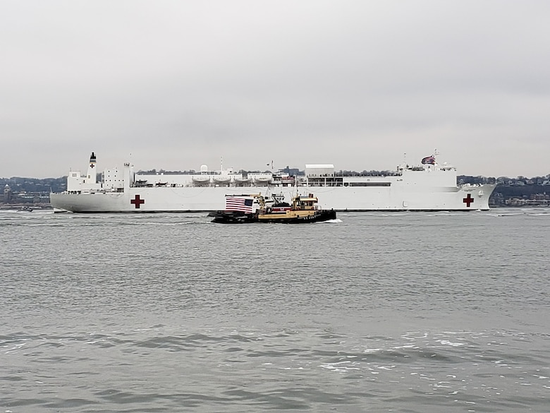 The U.S. Navy's Military Sealift Command hospital ship USNS Comfort (T-AH 20) arrived in New York City March 30th in support of the COVID-19 response efforts.
