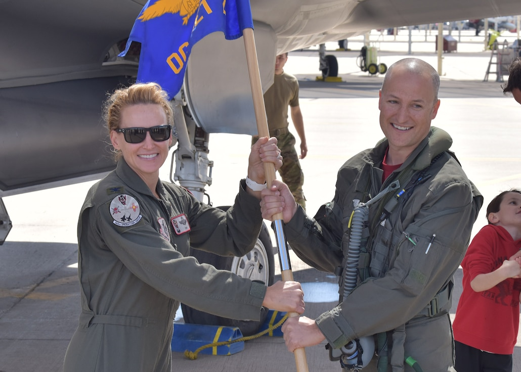 Due to COVID-19 social distancing requirements the 944th Operations Group Detachment 2 employed a creative approach to their recent leadership change by accomplishing an in-air change of command ceremony March 27 at Luke Air Force Base, Arizona.