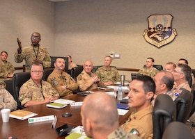 U.S. Air Force Maj. Gen. B. Chance Saltzman, WHERE IS HE AT, U.S. Air Forces Central Command deputy Combined Force Air Component Commander, listens to a briefing in the Combined Air Operations Center during a senior national representatives meeting at Al Udeid Air Base, Qatar, Sept. 5, 2019.