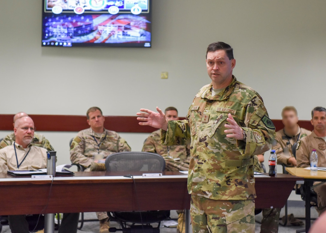 U.S. Air Force Maj. Gen. B. Chance Saltzman, U.S. Air Forces Central Command deputy Combined Force Air Component Commander, gives a speech during the fall AFCENT Chiefs of Safety conference at Al Udeid Air Base, Qatar, Sept. 10, 2019.