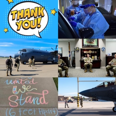 photo collage with airplane, medics, other Airmen