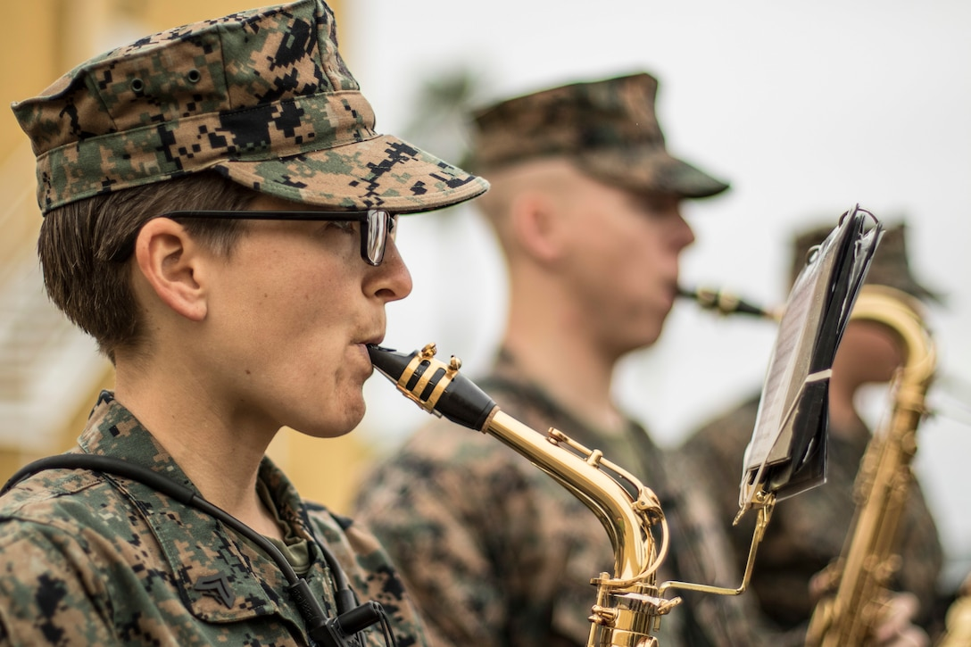 Marine Corps Cpl. Kelsey Worth plays the saxophone during a rehearsal at Marine Corps Recruit Depot San Diego, Calif., March 12.
