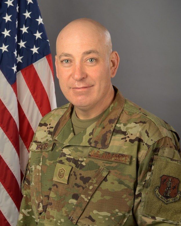 U.S. Air Force Master Sgt. Dennis Meyers, first sergeant for the 169th Logistics Readiness Squadron at McEntire Joint National Guard Base, S.C., Mar. 5, 2020.