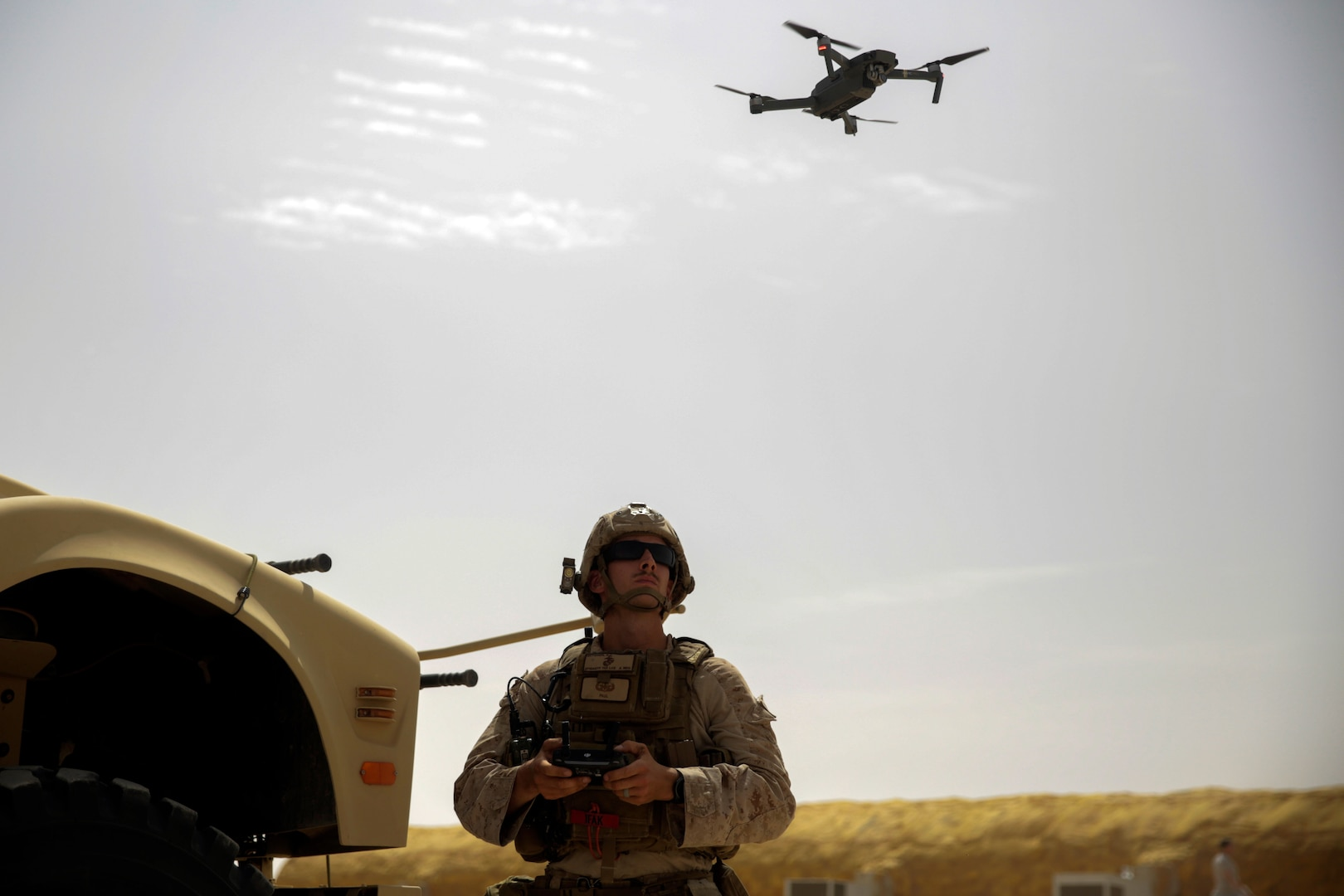 Explosive ordnance disposal technician flies DJI Mavic Pro Drone while forward deployed in Middle East, May 2017 (U.S. Marine Corps/Shellie Hall)