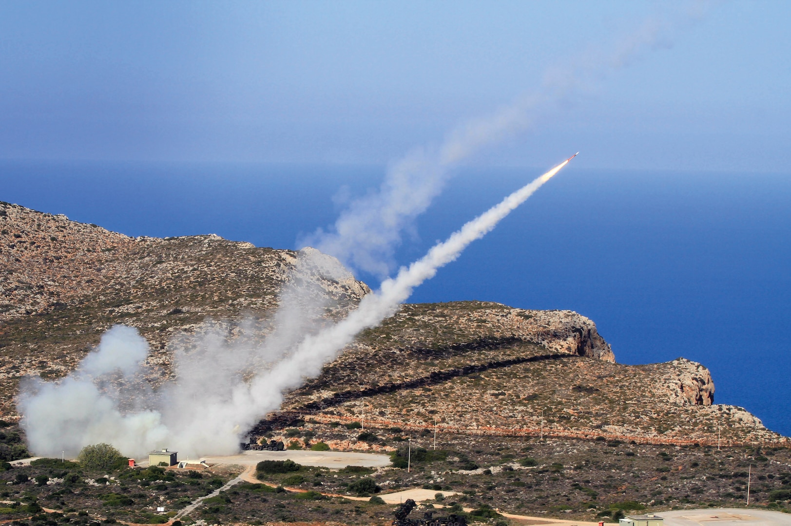 Soldiers from 7th Air Defense Artillery Regiment engage targets with Patriot missile systems at NATO Missile Firing Installation at Chania, Greece, during German-led multinational air defense exercise Artemis Strike, November 2017 (U.S. Army/Jason Epperson)
